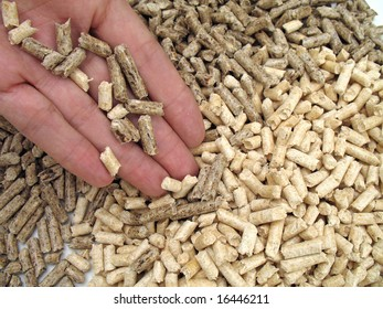hand and wood pellet