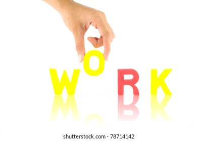 Hand and work word, isolate on white background