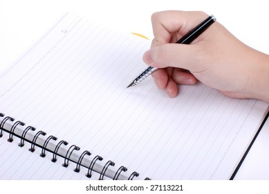 Hand write on a note book ï¼?signature or record