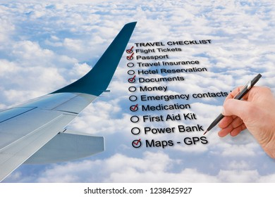 Hand write a Travel Checklist over a cloudy sky and airplane - concept image
