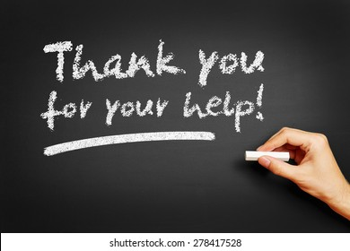 "Hand writes ""Thank you for your help!"" on blackboard"