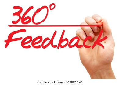 Hand writing 360 Degrees Feedback with red marker, business concept