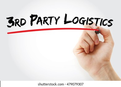 Hand writing 3rd Party Logistics with marker, concept background