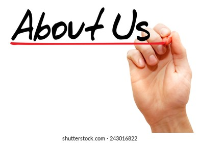 Hand writing About Us with marker, business concept