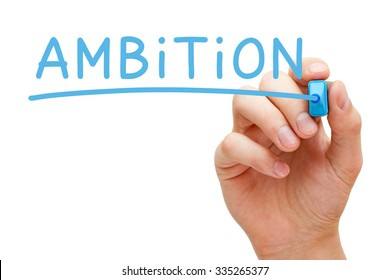 Hand writing Ambition with blue marker on transparent wipe board isolated on white.