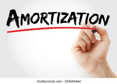 Hand writing Amortization with marker, concept background