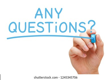 Hand writing Any Questions with blue marker on transparent wipe board isolated on white.