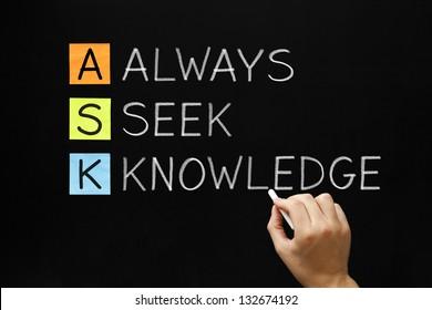 Hand writing  ASK - Always Seek Knowledge with white chalk on blackboard.