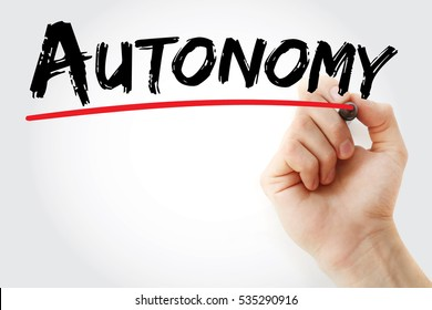 Hand writing Autonomy with marker, concept background