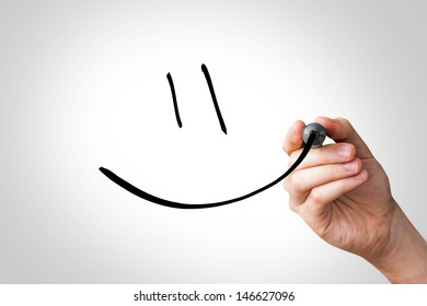 Hand writing with a black mark on a transparent board - Smiley