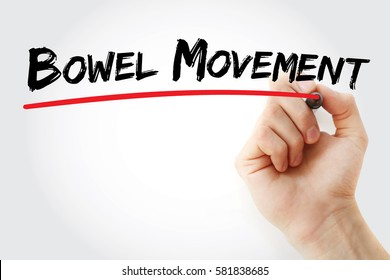 Hand writing Bowel movement with marker, concept background