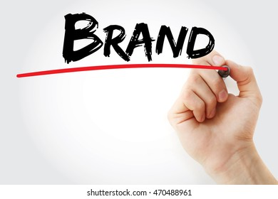 Hand writing Brand with marker, concept background