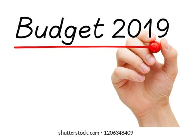 Hand writing Budget 2019 with marker on transparent glass board isolated on white.