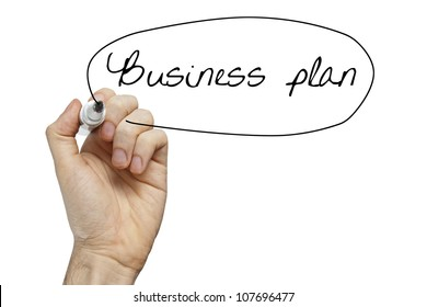 Hand writing Business Plan on whiteboard isolated on white