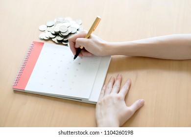 hand writing in calendar plan concept.