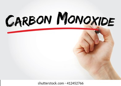 Hand writing Carbon Monoxide with marker, concept background