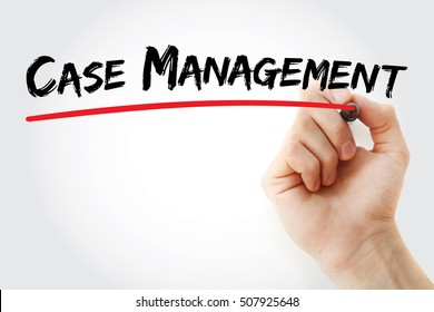 Hand writing Case management with marker, concept background