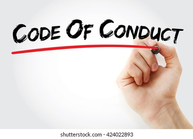 Hand writing Code Of Conduct with marker, business concept background