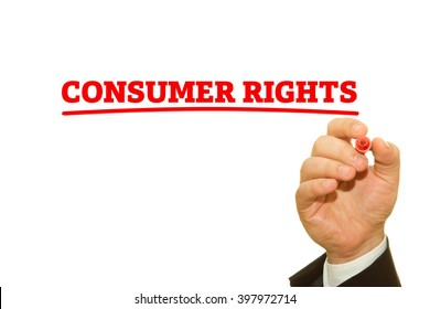 """Hand writing """"Consumer Rights"""" on a transparent wipe board."""