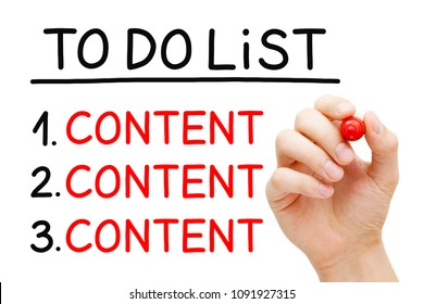 Hand writing Content in To Do List with red marker isolated on white.
