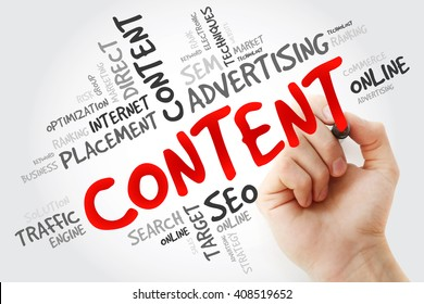 Hand writing CONTENT word cloud, business concept