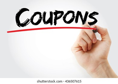 Hand writing Coupons with marker, business concept