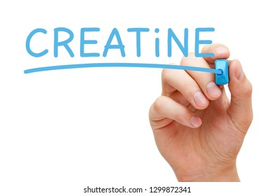 Hand writing Creatine with blue marker on transparent wipe board isolated on white background.