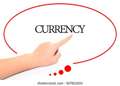 Hand writing CURRENCY  with the abstract background. The word CURRENCY represent the meaning of word as concept in stock photo.