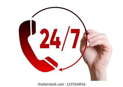 Hand writing customer service 24/7 on a virtual screen