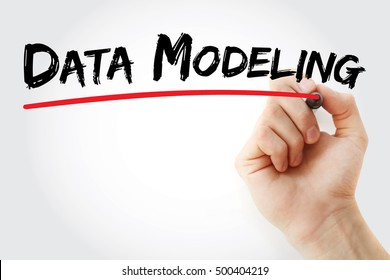 Hand writing data modeling with marker, concept background