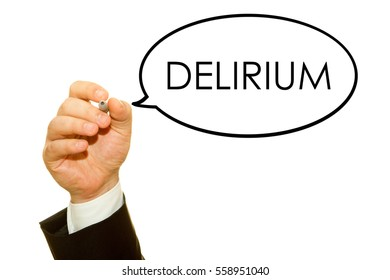 Hand writing Delirium word on a transparent wipe board.