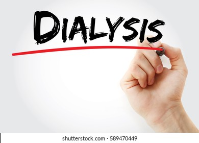 Hand writing Dialysis with marker, concept background