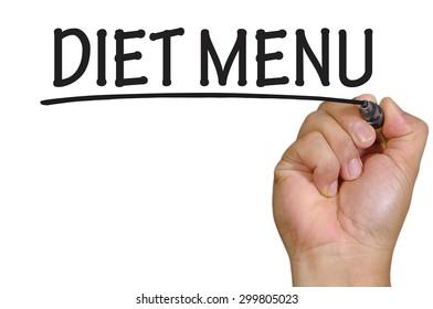 The hand writing diet menu