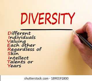 Hand writing 'diversity' isolated on white background. Copy space. Diversity, different individuals valuing each other regardless of skin intellect talents or years words. Copy space. Equality concept