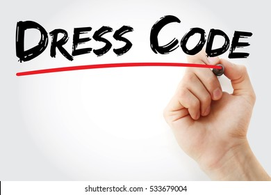 Hand writing Dress code with marker, concept background