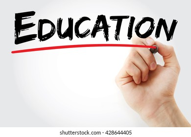 Hand writing Education with marker, business concept