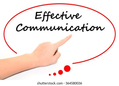 "Hand writing as ""effective communication"" to be a notice. Isolated on office. Business, technology, internet concept."