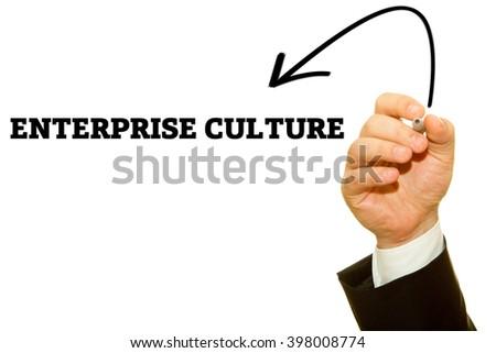 Hand Writing Enterprise Culture On Transparent Stock Photo