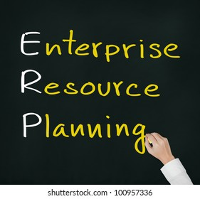 hand writing enterprise resource planning (ERP) system concept for supply material management business