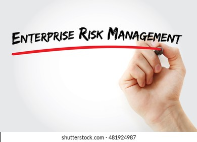 Hand writing Enterprise Risk Management with marker, concept background