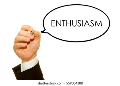 Hand writing Enthusiasm word with a marker on a transparent wipe board.