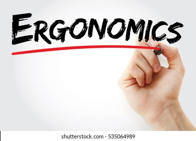 Hand writing Ergonomics with marker, concept background