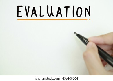 hand writing EVALUTION concept on paper , business concept , business idea , strategy concept, business solution, business analysis