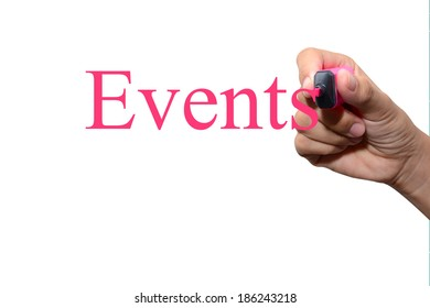 Hand writing Events concept