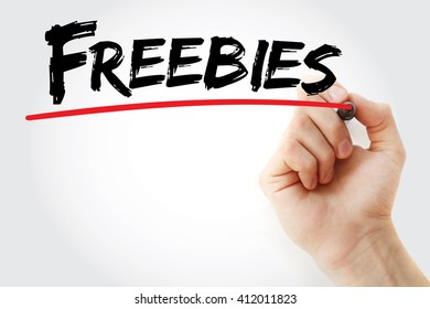 Hand writing Freebies with marker, concept background