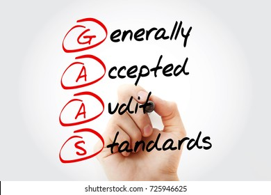 Hand writing GAAS - Generally Accepted Audit Standards with marker, acronym business concept