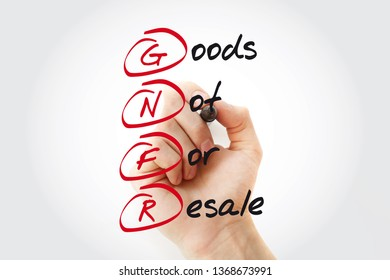 Hand writing GNFR - Goods Not For Resale with marker, acronym business concept
