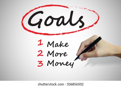 Hand writing goals to Make More Money, business concept ,business idea