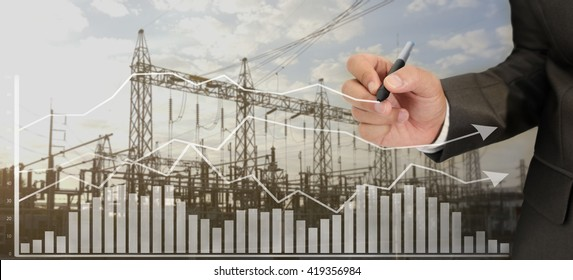 Hand writing graph for analysis power plant system