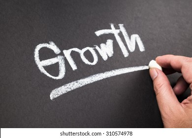 Hand writing Growth word with chalk